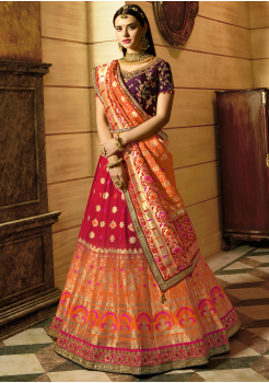 Orange Color Designer Jacquard Lehenga Choli