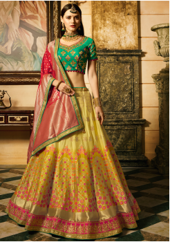 Yellow, Red, Green Color Designer Jacquard Lehenga Choli