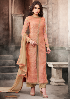 Peach Color Silk Designer Party Wear Suit