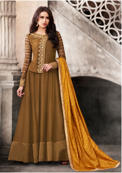 Brown Color Satin Designer Party Wear Suit