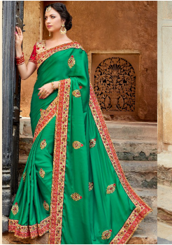 Green with Red Color  Satin Silk designer saree