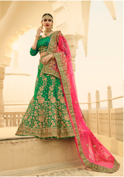 Green with Pink Color Designer Lehenga Choli