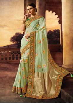 Green with cream Color Silk  Saree