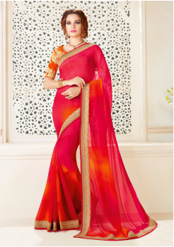 Pink with Orange Color  Spray Chiffon Designer saree