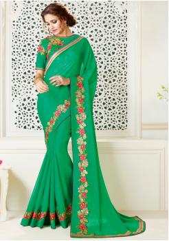 Green Color  Chiffon Designer saree