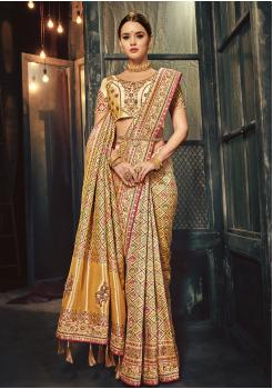 Cream Color Silk Designer Saree