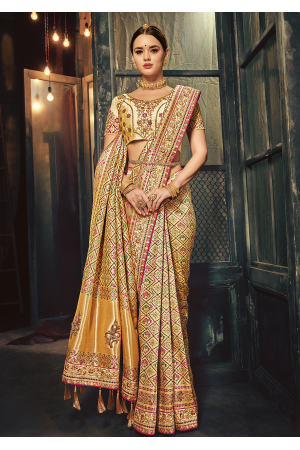 Cream Color Silk Designer Saree