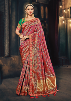 Pink  with Green Color Silk  Designer Saree