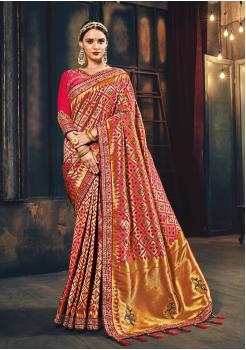 Pink Color Silk  Designer Saree SH