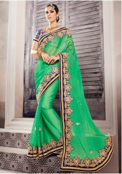 BRIGHTER GREEN AND BLUE COLOR SAREE