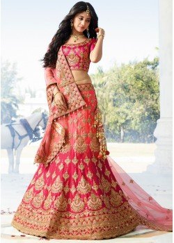 DARK PINK AND GOLD COLOR LEHENGA CHOLI