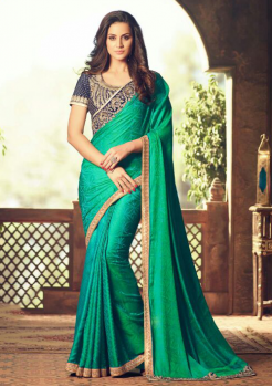 GREEN COLOR WITH BORDER DESIGNER  SAREE
