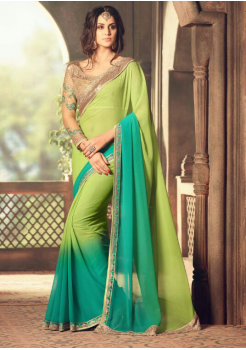 LIGHT GREEN AND BLUE COLOR WITH BORDER DESIGNER  SAREE