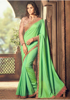 LIGHT GREEN COLOR WITH GOLD BORDER DESIGNER  SAREE