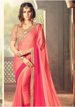 ORANGE AND RED COLOR WITH GOLD RICH BORDER DESIGNER  SAREE