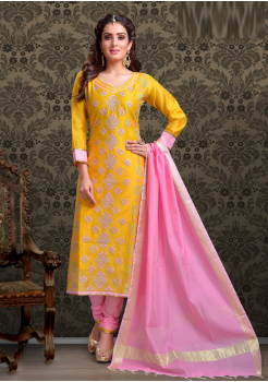 Yellow with Baby Pink Color Cotton Designer Chudidar