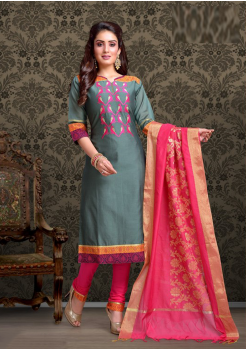 Grey with Fuschia Color Cotton Designer Party Wear Suit
