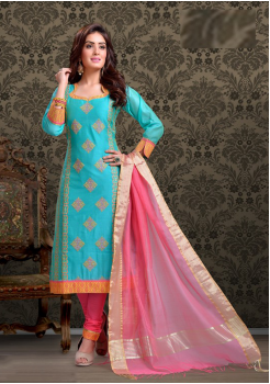 Sea Green with Pink Color Cotton Designer Party Wear Suit