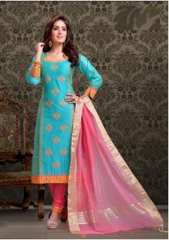 Aqua Blue with Pink Color Cotton Designer Party Wear Suit