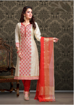 Beige with Red Color Cotton Designer Suit