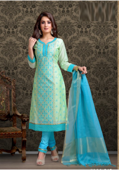 Sea Green with Sky Blue Color Cotton Designer Suit