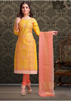 Yellow with Peach Color Cotton Designer Suit