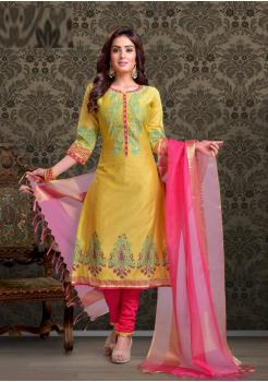 Yellow with Rani Pink Color Designer Chudidar