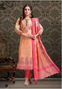 Peach with Dark Pink Color Cotton Designer Suit
