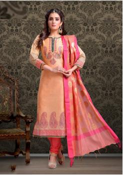 Peach with Dark Pink Color Cotton Designer Suit