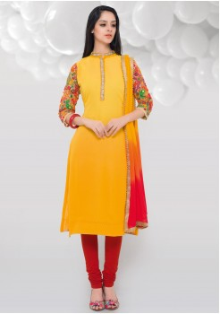 YELLOW COLOR GEORGETTE SILK STRAIGHT CUT CHUDIDAR