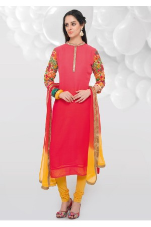 PINK COLOR GEORGETTE SILK STRAIGHT CUT CHUDIDAR