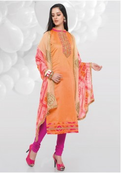 ORANGE COLOR CHANDERI AND COTTON SILK STRAIGHT CUT CHUDIDAR
