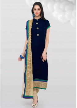 BLUE COLOR GEORGETTE AND COTTON SILK STRAIGHT CUT CHUDIDAR