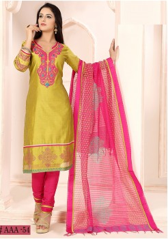 PARROT GREEN COLOR CHANDERI SILK EMBROIDERY WORK DESIGNER STRAIGHT CUT CHUDIDAR