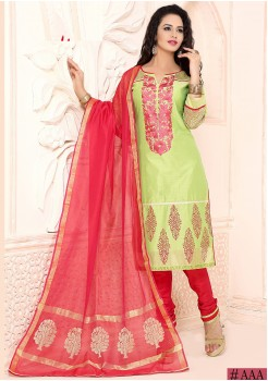 GREEN COLOR CHANDERI SILK STRAIGHT CUT CHUDIDAR