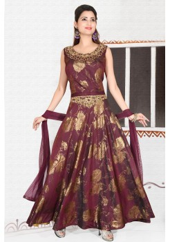 Wine/Purple  soft brocade art silk gown
