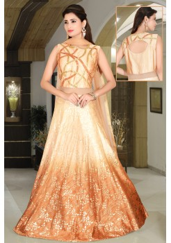 Peach,Gold Cream color soft raw silk,net gown