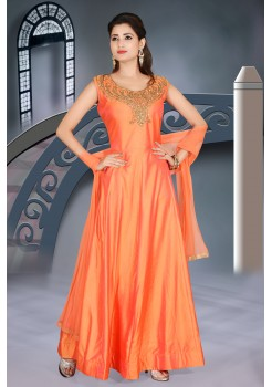 Orange color soft art silk gown