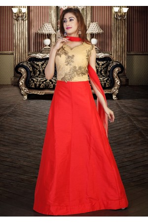 DESIGNER RED AND GOLD COLOR GOWN STYLE