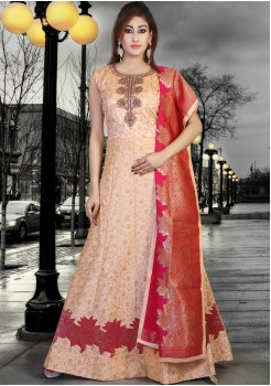 PEACH AND RED COLOR DESIGNER GOWN