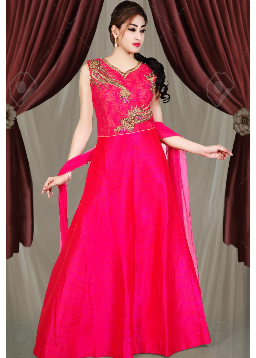 535b39714f PINK COLOR RAW SILK FABRIC DESIGNER GOWN. Image