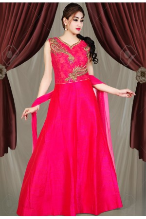 PINK COLOR RAW SILK FABRIC DESIGNER GOWN