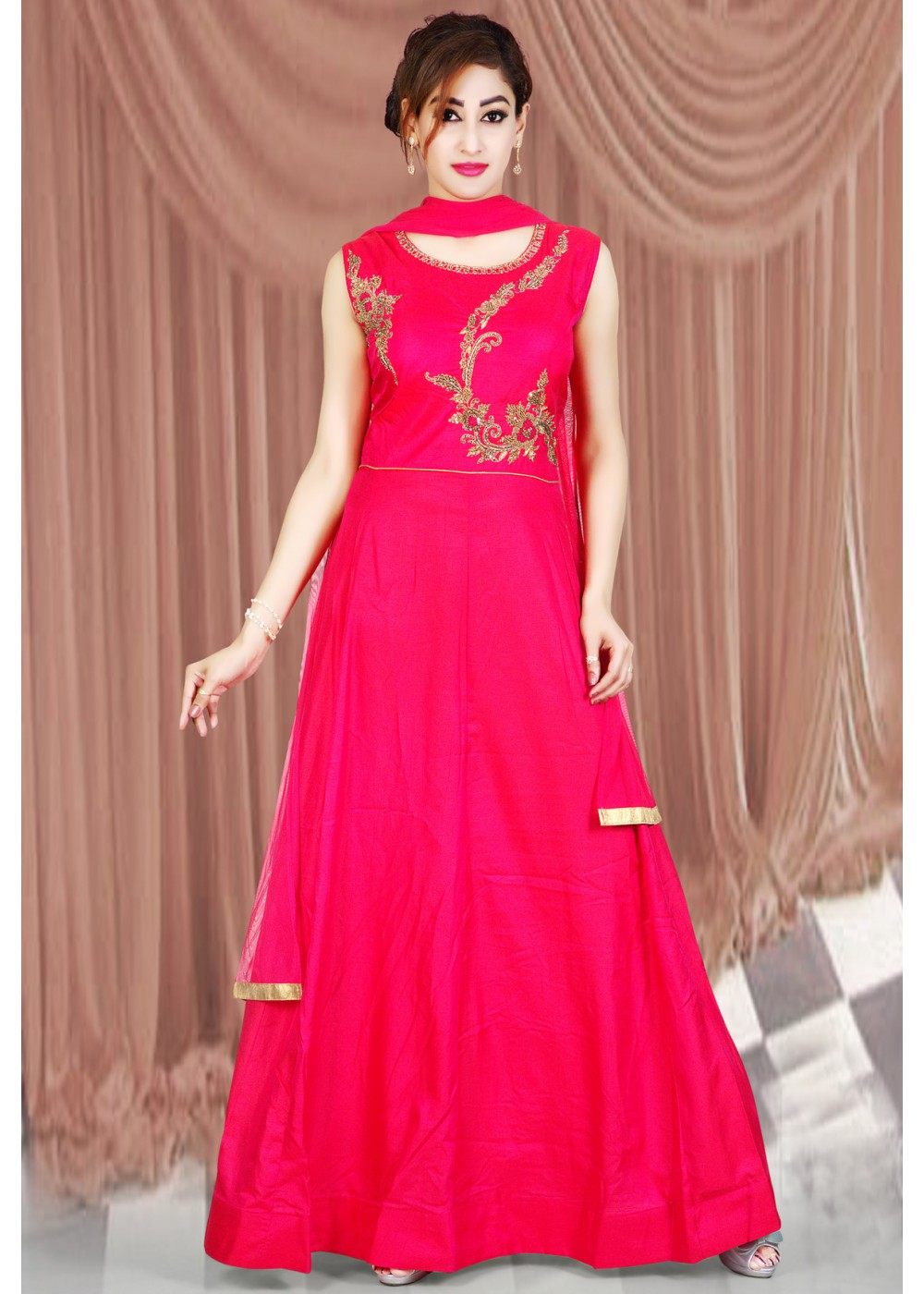 Dark Pink Color Tusser Silk Fabric Designer Style Gown