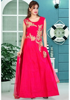 PINK COLOR RAW SILK SPARKLE DESIGNER GOWN