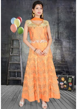 PEACH ORANGE COLOR SILK FABRIC DESIGNER GOWN