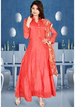 RED COLOR ART SILK FABRIC DESIGNER GOWN
