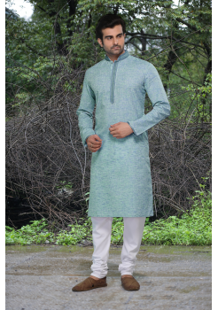 LEAVE GREEN COLOR COTTON AND POLY FABRIC KURTA PYJAMA