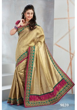 Gold art silk saree