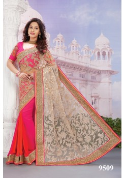 Elegant Gold Rani Pink orange saree