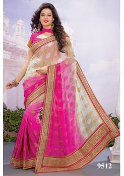 Shaded off white and fuscia pink saree